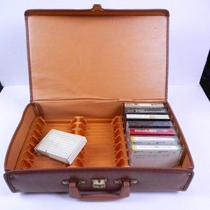 VTG 24 Cassette Tape Tan Leather Carrying Case